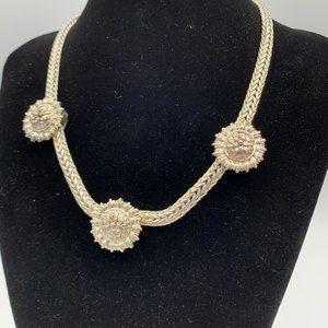 RARE Vintage Signed MONET Floral Toggle Necklace